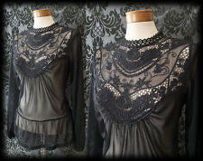 Gothic Black Detailed Lace Bib VICTORIAN GOVERNESS Sheer Blouse 12 14 Vintage