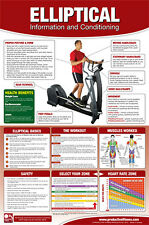 ELLIPTICAL MACHINE WORKOUT Cardio Fitness Professional Gym Wall Chart POSTER