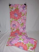 Vtg Sears Twin flat & Fitted Sheet BIG Pink Purple Flowers Floral 50/50 Percale