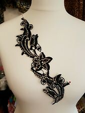 Black lace & crystal embroidery patch applique motif dance costume trimming