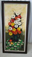 Signed W.CLARK VTG MCM French Still Life Flower Vase on table Oil Painting