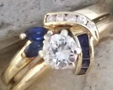 Solid 14K Yellow Gold .30 ct 1/3 Round Cut Diamond Ring, w Blue Iolite Size 4.5