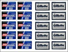100  Polsilver super iridium and Gillette Platinium  Double Edge Razor Blades