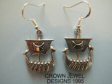 HANDMADE STERLING/TIBETAN SILVER VIKING LONGBOAT EARRINGS GIFT BAG PAGAN WICCAN
