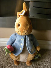 "THE WORLD OF BEATRIX POTTER RABBIT BABY RATTLE SQUEEK TEDDY 12"" TALL"