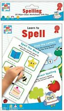 SPELING SPELL WRITE Wipe Clean Worksheets + PEN Reusable Writing Practise Pad
