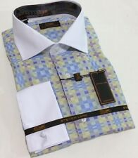 Dress Shirt by Steven Land Spread Collar French Cuffs 16.5 34/35 DW 539 Blue