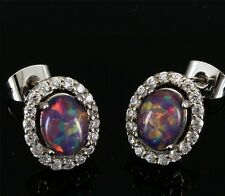 *** UK SELLER** Silver/Rhodium Plated CHERRY LAB FIRE OPAL/TOPAZ Stud Earrings