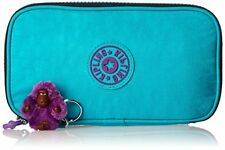 NWT Kipling Kay Pen Pencil Case Cosmetic Pouch Cool Turquoise CZ
