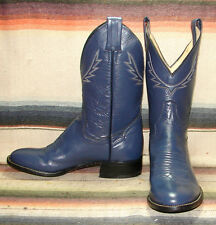Womens Vintage Panhandle Slim Blue Leather Short Cowboy Boots 5 B New In Box