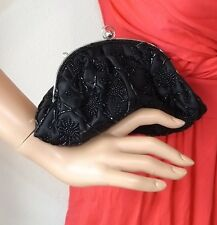 NEW LA REGALE PUSH LOCK EVENING CLUTCH BAG BLACK BEADS BEADED SATIN WALLET