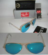 RAY BAN AUTHENTIC AVIATOR RB 3025 112/4L 58MM MATTE GOLD  POLARIZED BLUE MIRROR