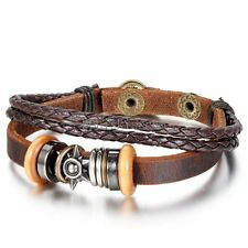 Brown Leather Braided Strap Bracelet Wristband Cuff Bangle for Men Women