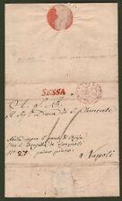 SESSA lineare rosso su lettera per Napoli del 31 Gennaio 1813. Completa di testo