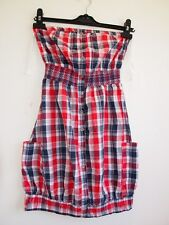 PRIMARK BANDEAU BUTTONED TEA VTG CHECK TARTAN RED PUFF PUFFBALL DRESS 6 XS