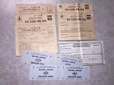 Lot of 5 World War II Ration Books / Coupons for Points / Sugar Certificate