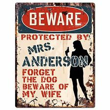 PPBW 0012 Beware Protected by MRS. ANDERSON Rustic Chic Sign Funny Gift Ideas