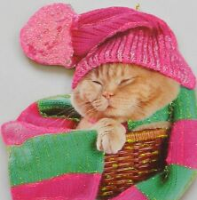 Cat In Basket Pink Hat Scarf Glittered Christmas Ornament Vtg Greeting Card