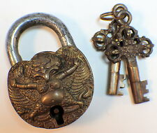 Monastery Lock And Key Set Garuda Solild Brass Antique Patina