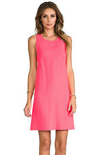 NWT 14 Trina Turk Lysett Sleeveless Shift Dress In Hot Coral Crepe Lace Lining