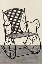 Schaukelstuhl Konya aus Metall braun Schwingsessel Metallstuhl Sessel