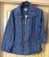 Ladies French Blue Crinkle/creased Look effect Jacket/Coat Size 10