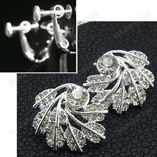 2.6cm big CLIP ON EARRINGS silver rhinestone vintage style leaf CRYSTAL glass