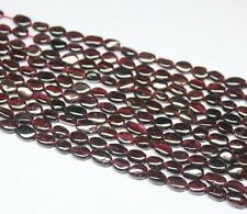 Natural Red Garnet Smooth Polished Oval Beads Strand 14 inches - 8 MM - 10 MM
