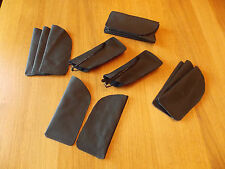 Real Black Leather Glasses Case Sleeve Pouch for Reading Glasses free P&P