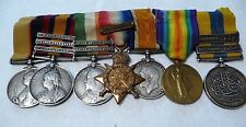 Original 7 British Medals & Ribbons & 8 Clasps: Sudan, Boer War & WW1- A.Bennett