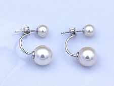 925 STERLING SILVER DOUBLE SHELL PEARL STUD EARRINGS