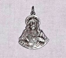 VINTAGE Sterling Silver SH JESUS & IMMACULATE HEART of MARY 2-Sided Medal