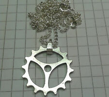 """TIBETAN SILVER CHARM """"WATCH COG STYLE """"""""2.2CM DIA 18""""OR 20""""  SILVER P/T NECKLACE"""