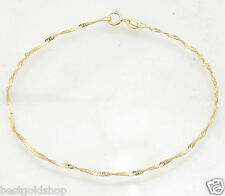 "7"" 1.5mm Twisted Singapore Sparkle Bracelet Real Solid 10K Yellow Gold"