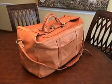 S. American Handmade Thick Tan Leather XL Travel Bag / Weekender / Valise