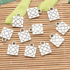 30pcs tibetan silver color 2sided square shaped flower  charms H3543