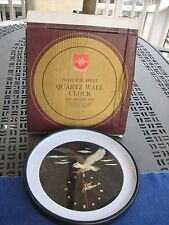 Vintage Helm Brand Natural Shell Quartz Wall Clock . Eagle