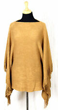 MARVELUSH for LAYERS by LIZDEN MUSTARD BEIGE BROWN SOFT FRINGE CAPE PONCHO COAT