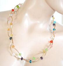 COLLANA LUNGA ORO girocollo donna dorato cristalli pietre collier mono filo A70
