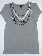 NWT GAP KIDS AMERICAN IN PARIS T GIRLS MEDIUM 8  NECKLACE GRAY BLING KEY CHAIN