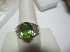 MENS 4CT FINE GENUINE MINED PERIDOT HANDSOME STERLING RING