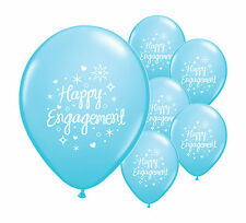 """10 x HAPPY ENGAGEMENT  LIGHT BLUE 12"""" HELIUM QUALITY PEARLISED BALLOONS (PA)"""