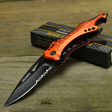 TAC Force Orange EMT Handle Spring Assist Part Serrated Tactical Knife TF-705EM