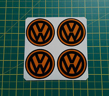 Set ALLOY WHEEL STICKERS 4 x 60mm VW logo Orange centre cap badge trim