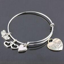 Tibetan Silver Heart LOVE Charms Dangle Pendant Bead Adjustable Bracelet Bangle