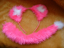 Bright Pink Lion Cub Ears & Tail Fancy Dress Animal Costume Hen Night Dress Up