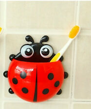 TOOTHBRUSH HOLDER ORGANIZER BATHROOM ACCESSORY CUTE CUP LADYBIRD WALL SUCTION