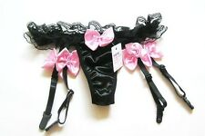 Silky Satin and Lace Black Suspender & G-String Thong w. Floral Pink Bows   216