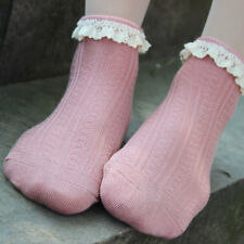 3 Pairs Girl Cotton Socks Vintage Lace Ruffle Frilly Ankle Princess Cute Socks
