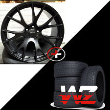 "22"" Hellcat Style Rims w Tires Satin Black For Dodge Ram 1500 Durango Dakota"